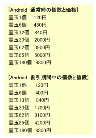 Android_霊玉の割引販売実施